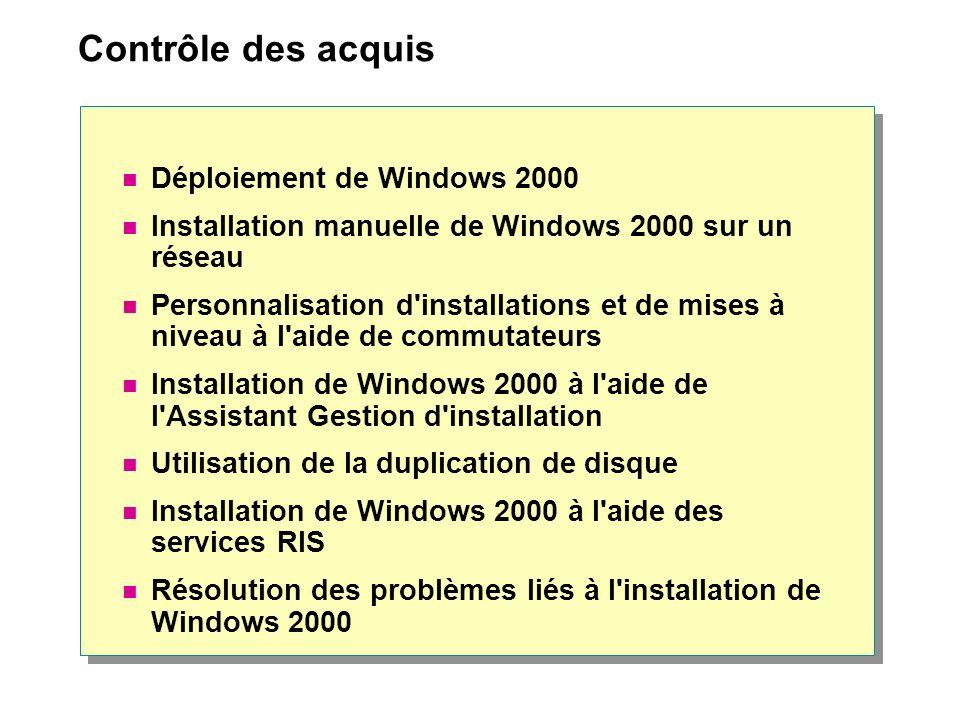 Contrôle des acquis Déploiement de Windows 2000