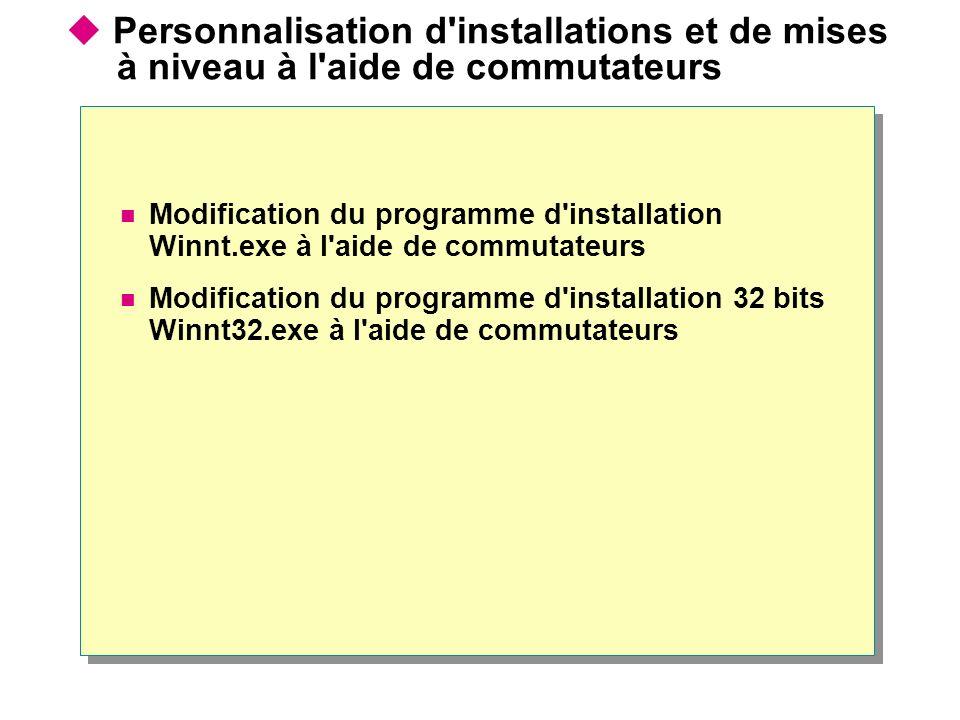Personnalisation d installations et de mises