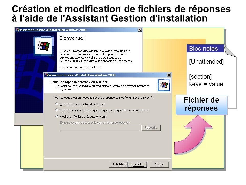 Création et modification de fichiers de réponses à l aide de l Assistant Gestion d installation