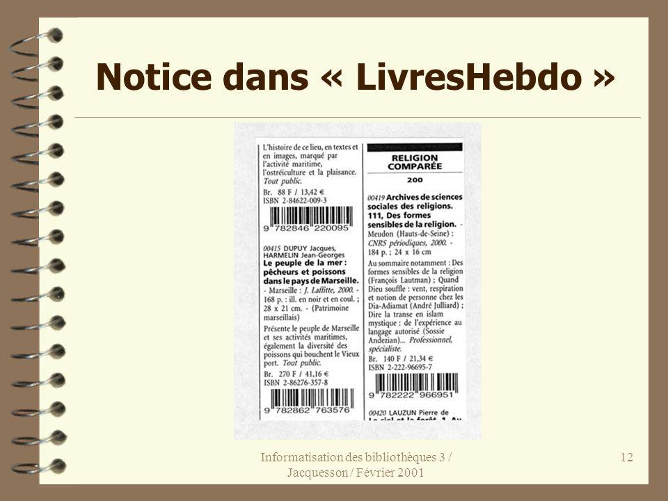 Notice dans « LivresHebdo »