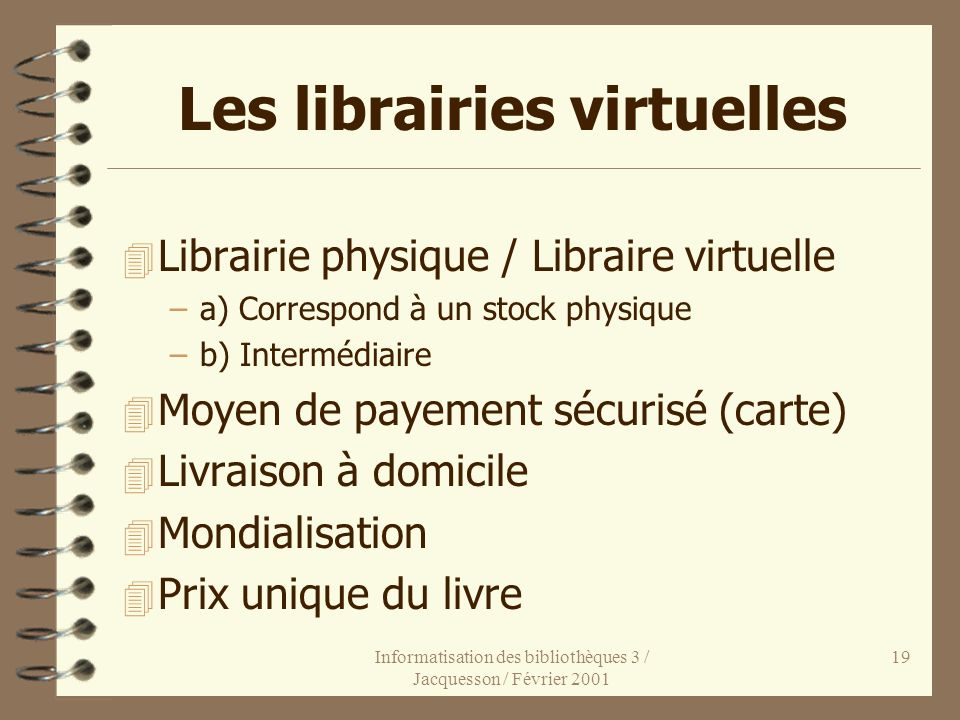 Les librairies virtuelles