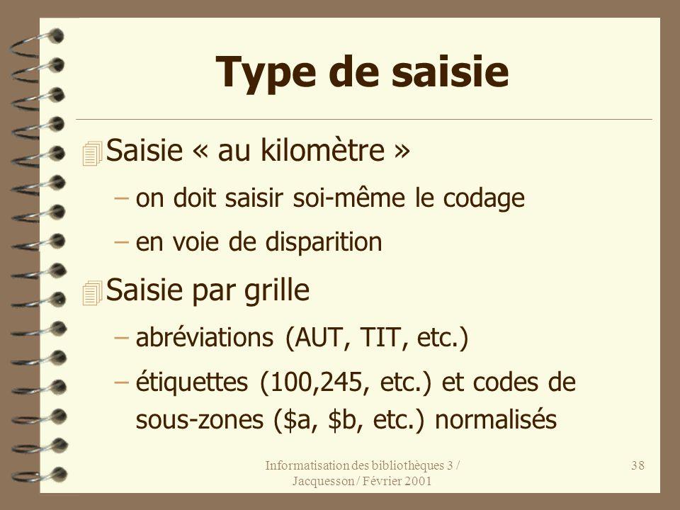 Informatisation des bibliothèques 3 / Jacquesson / Février 2001