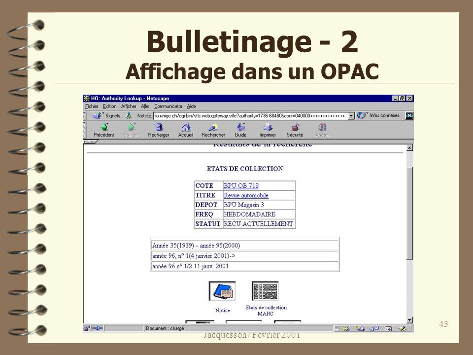 Bulletinage - 2 Affichage dans un OPAC