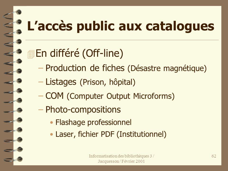 L'accès public aux catalogues