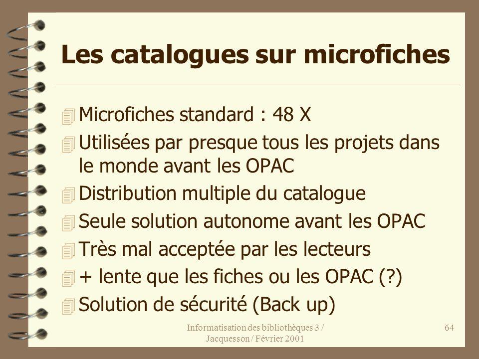 Les catalogues sur microfiches