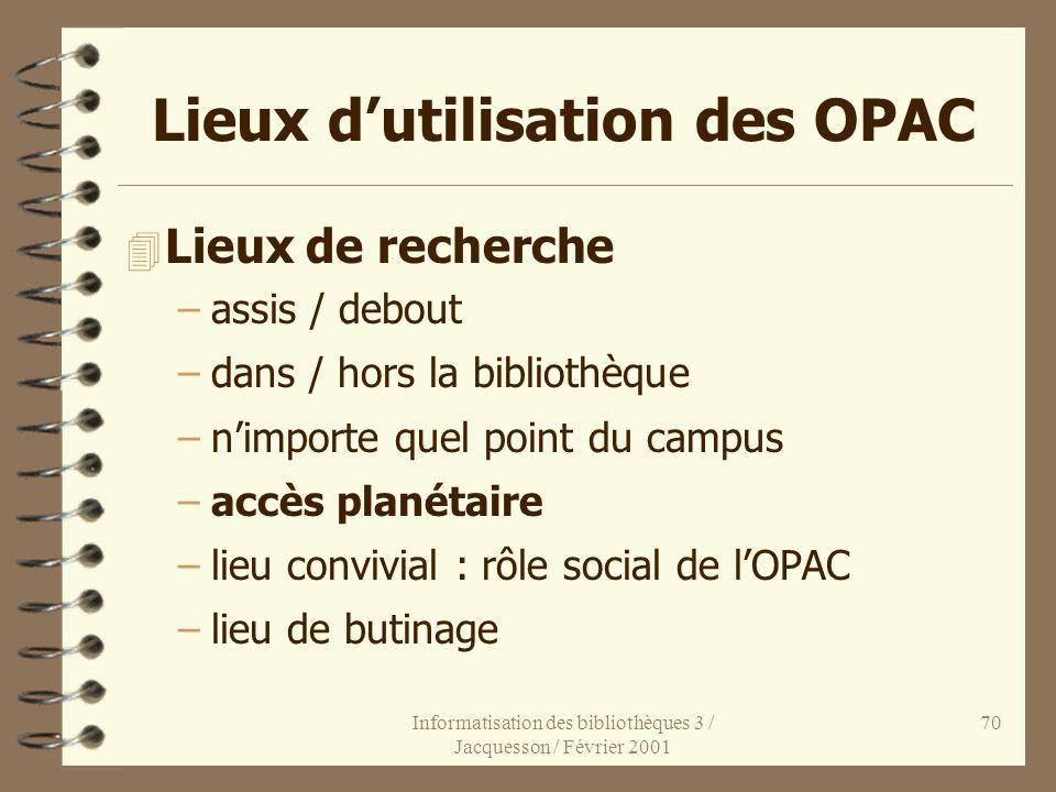 Lieux d'utilisation des OPAC