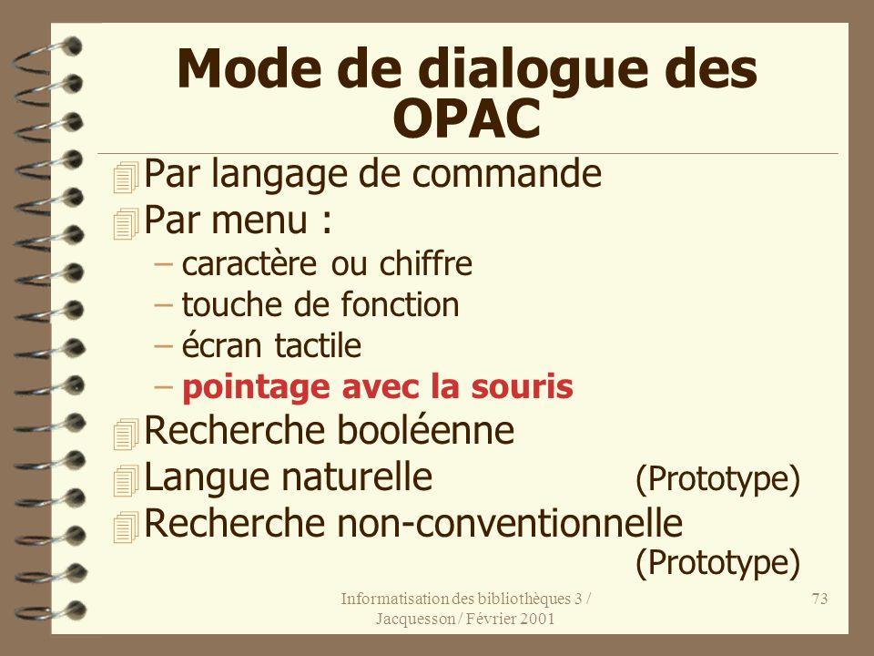 Mode de dialogue des OPAC