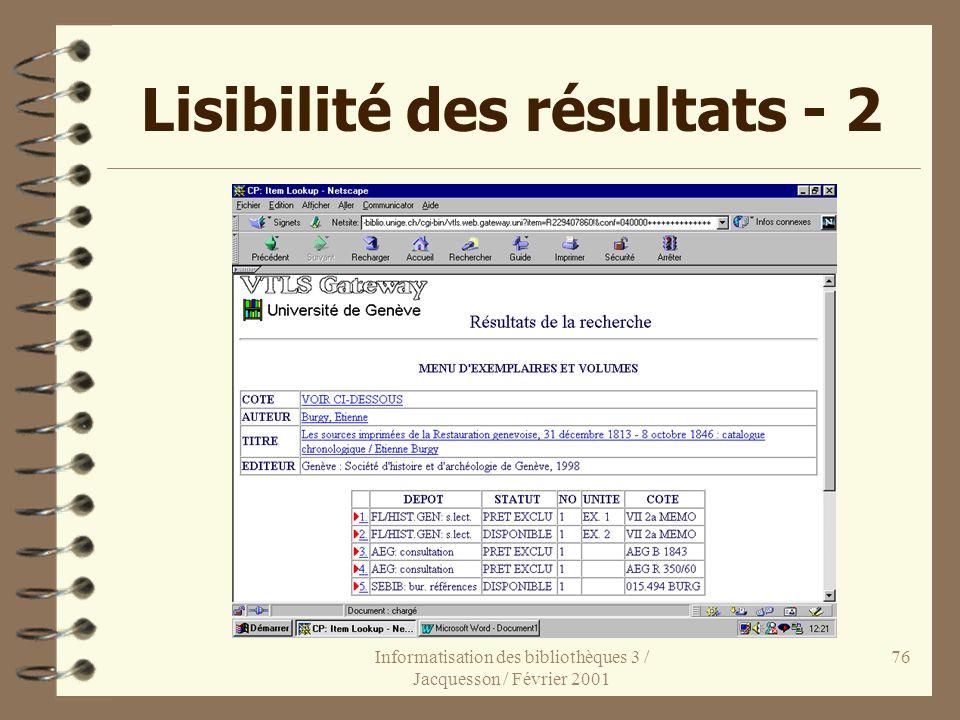 Lisibilité des résultats - 2