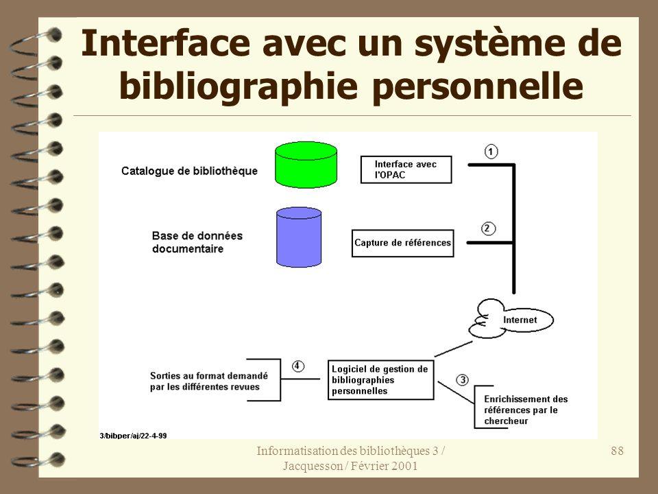 Interface avec un système de bibliographie personnelle