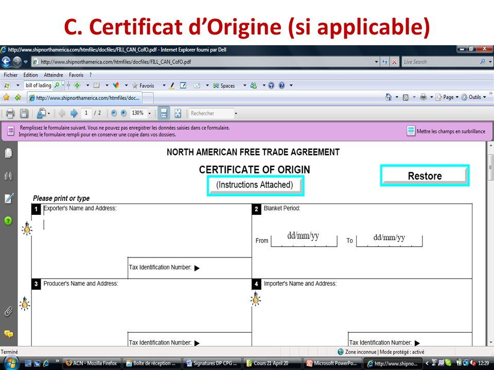C. Certificat d'Origine (si applicable)