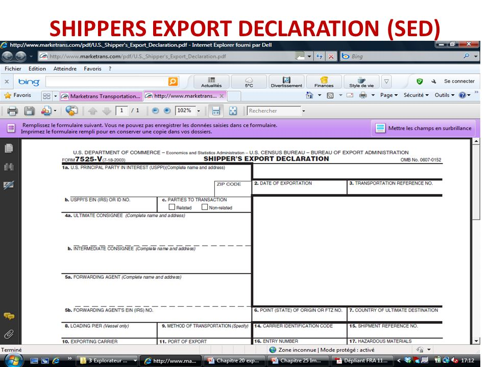 SHIPPERS EXPORT DECLARATION (SED)