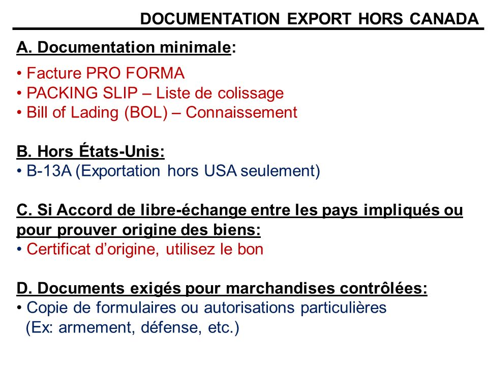 DOCUMENTATION EXPORT HORS CANADA