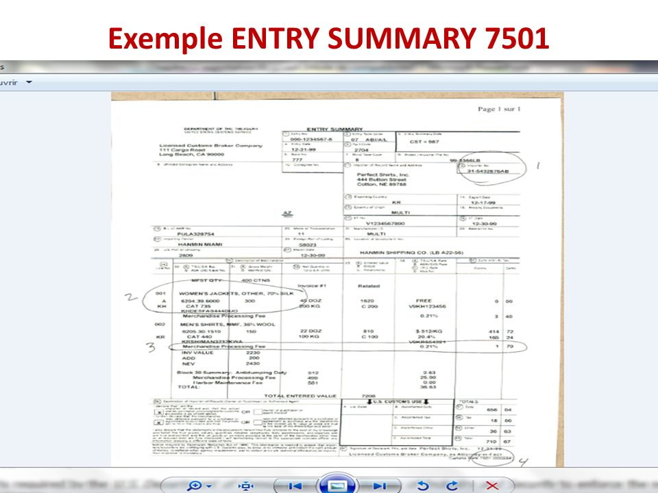 Exemple ENTRY SUMMARY 7501 (U.S) Shipper s Export Declaration Form