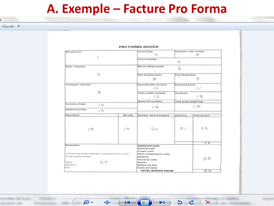 exemple facture proforma douane