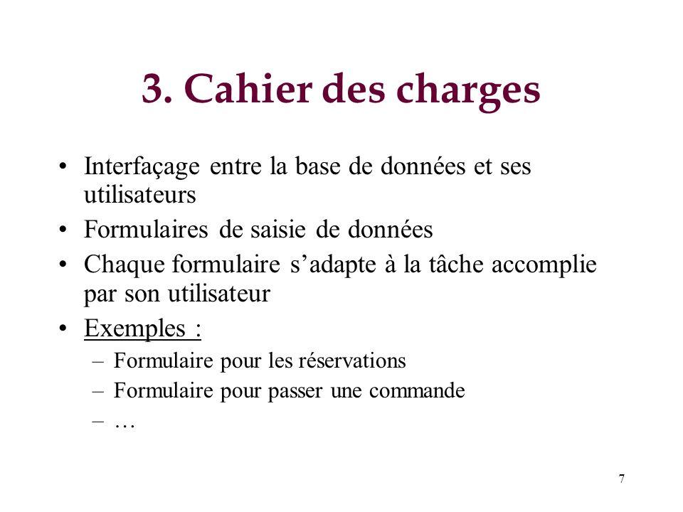 3. Cahier des charges Interfaçage entre la base de données et ses utilisateurs. Formulaires de saisie de données.