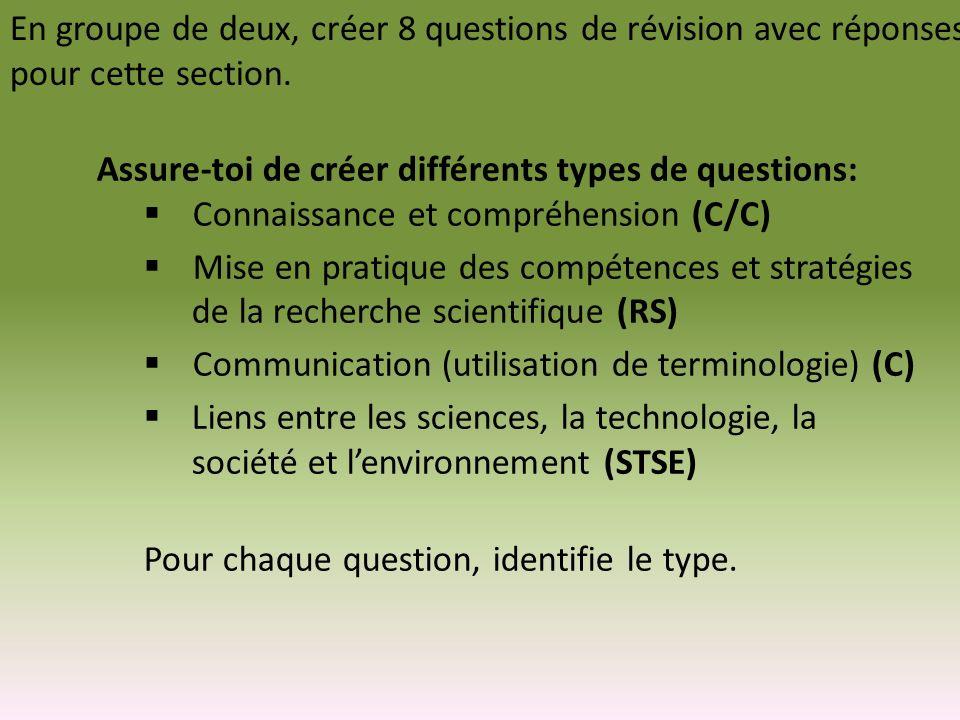 En groupe de deux, créer 8 questions de révision avec réponses pour cette section.