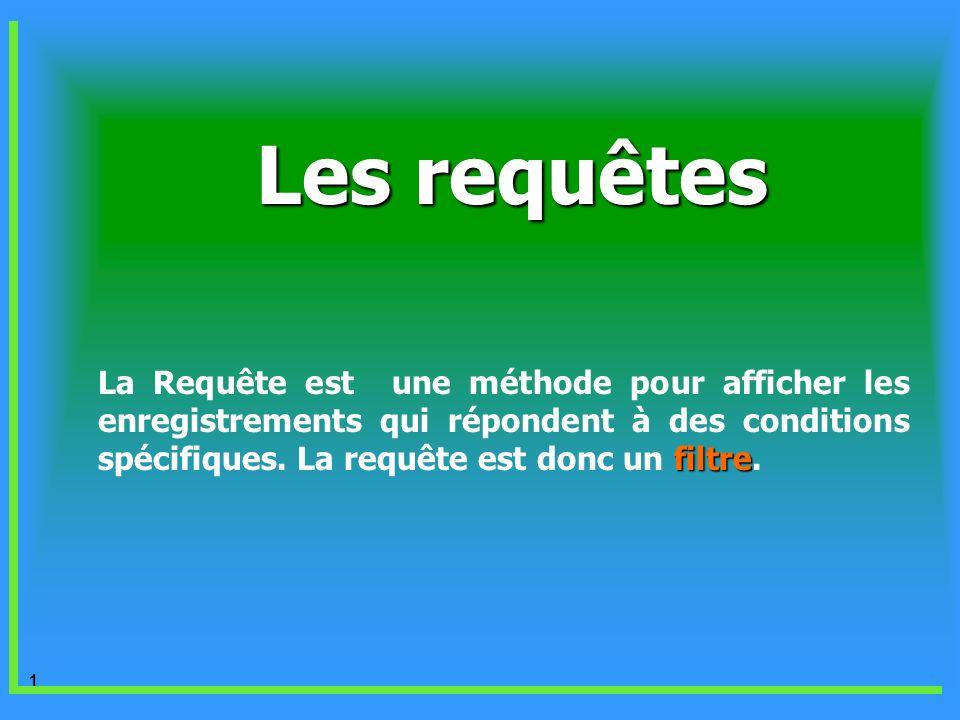 Les requêtes La Requête est une méthode pour afficher les enregistrements qui répondent à des conditions spécifiques.