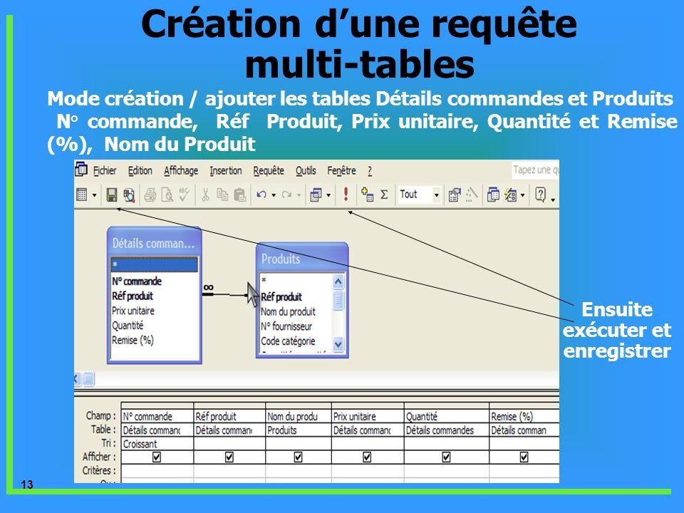 Création d'une requête multi-tables Ensuite exécuter et enregistrer