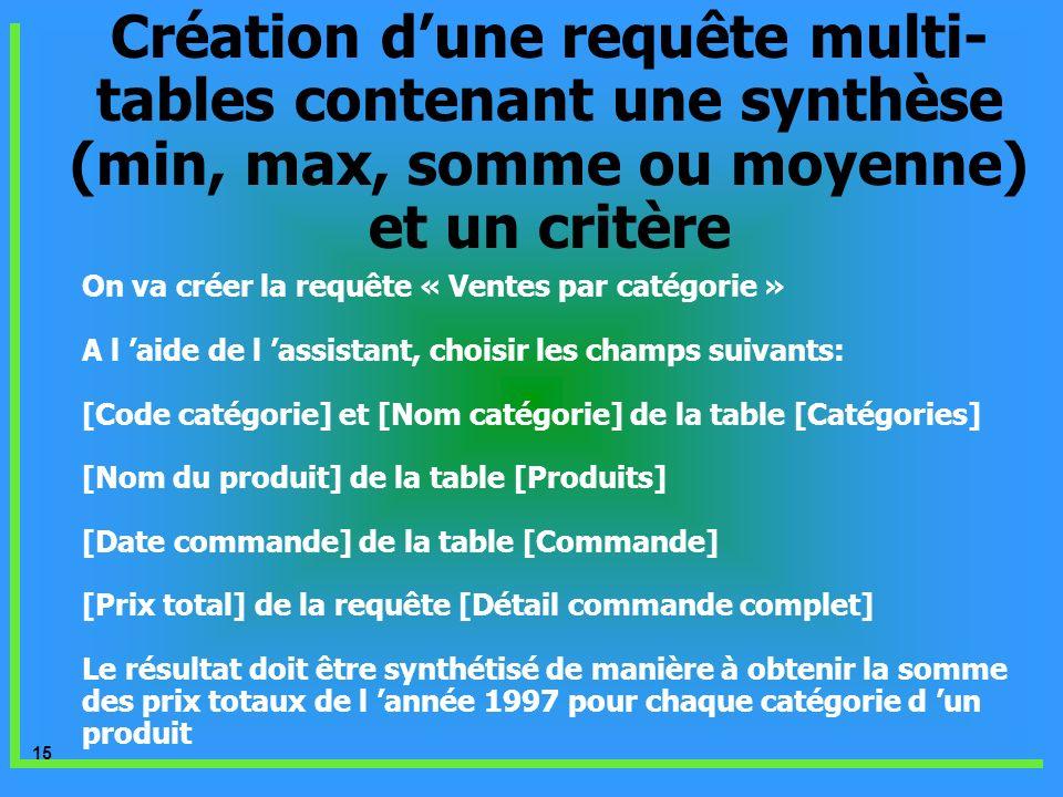 Création d'une requête multi-tables contenant une synthèse (min, max, somme ou moyenne) et un critère