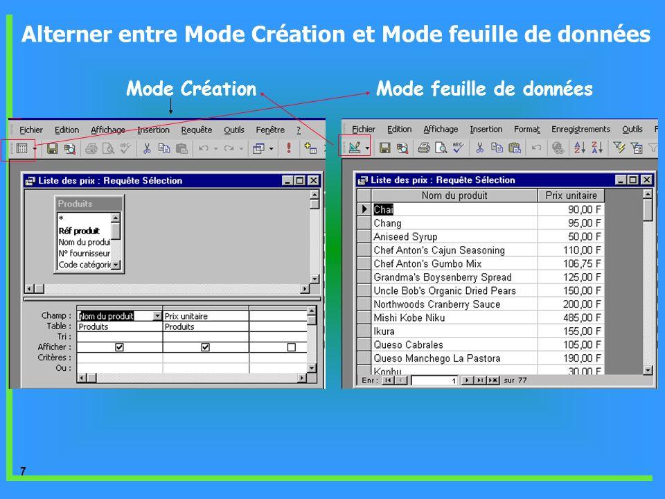 Alterner entre Mode Création et Mode feuille de données