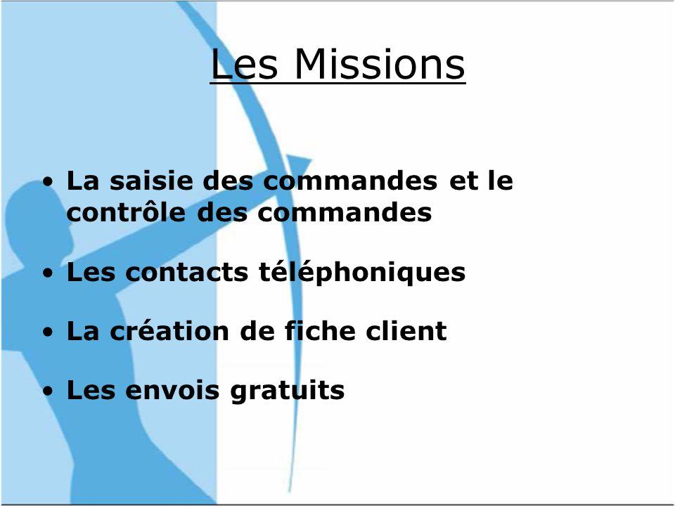 Les Missions La saisie des commandes et le contrôle des commandes