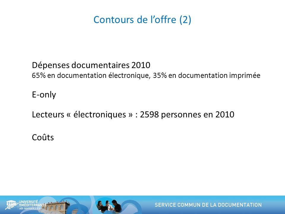 Contours de l'offre (2) Dépenses documentaires 2010 E-only