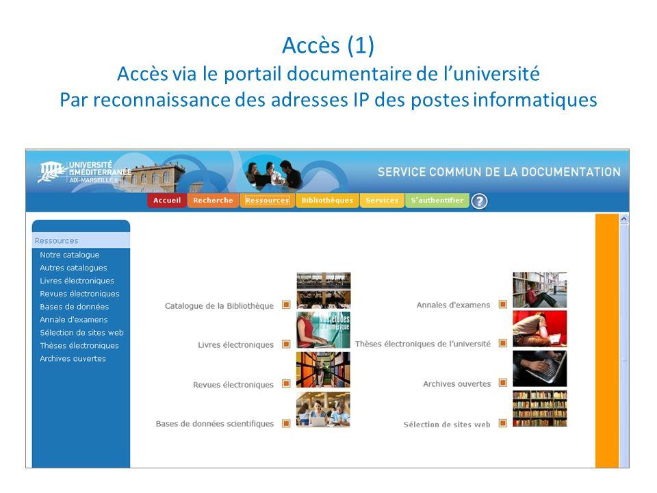 Accès (1) Accès via le portail documentaire de l'université