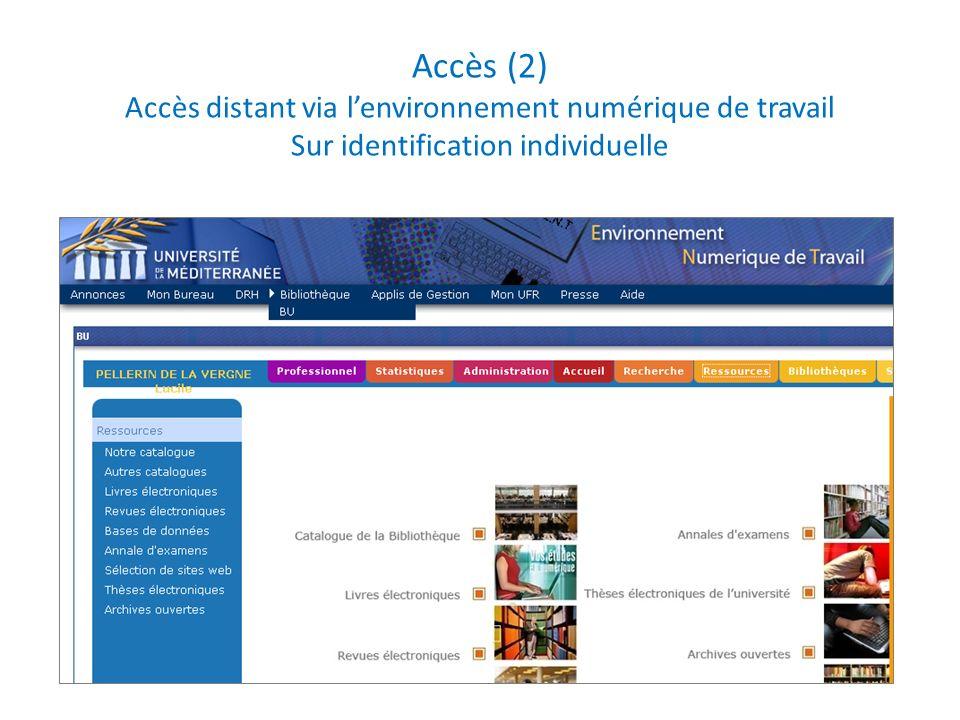 Accès (2) Accès distant via l'environnement numérique de travail