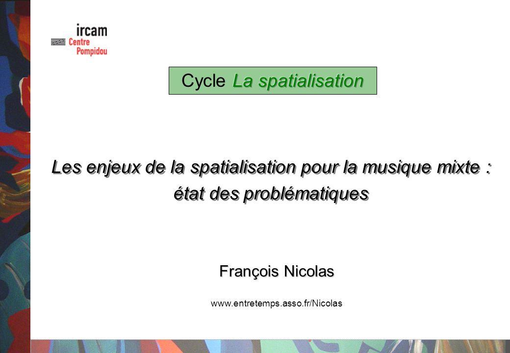 Cycle La spatialisation