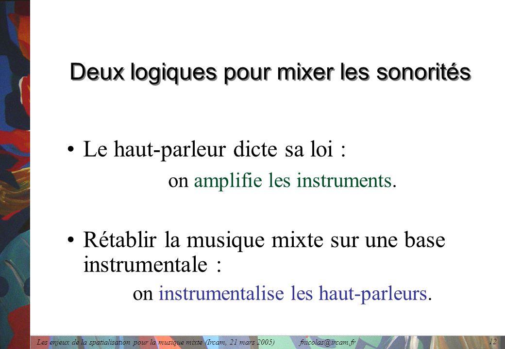 Deux logiques pour mixer les sonorités
