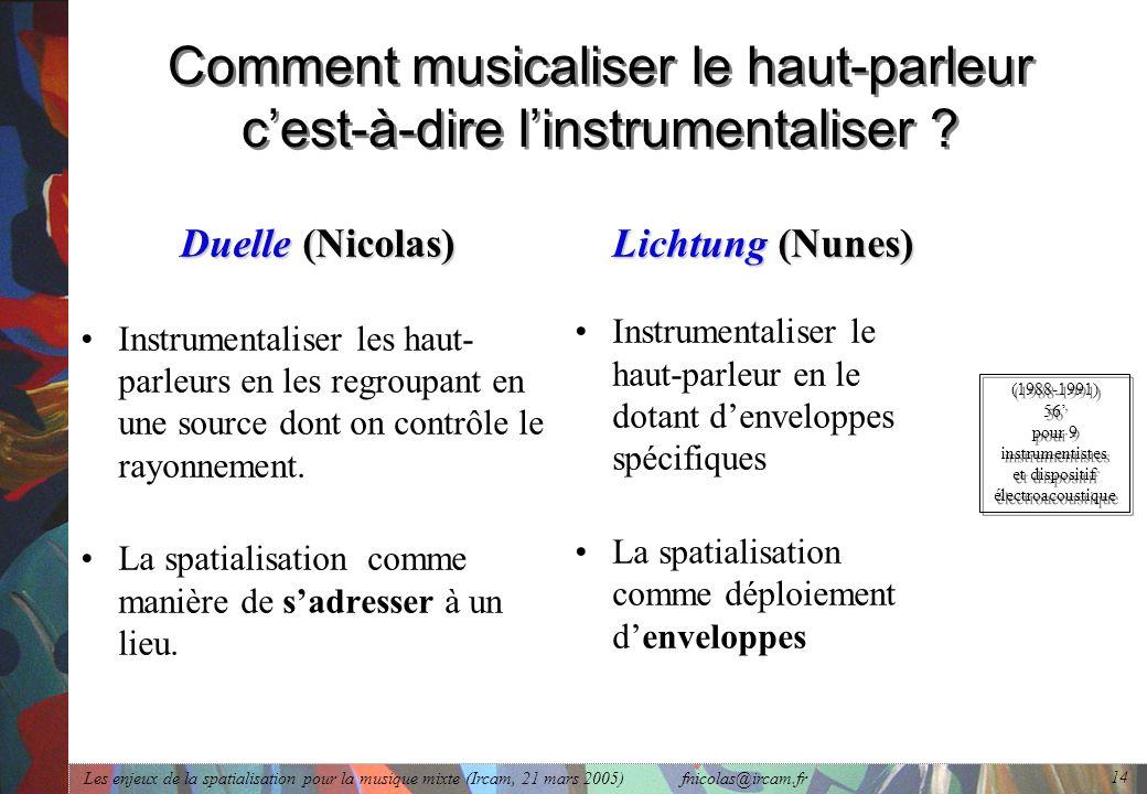 Comment musicaliser le haut-parleur c'est-à-dire l'instrumentaliser