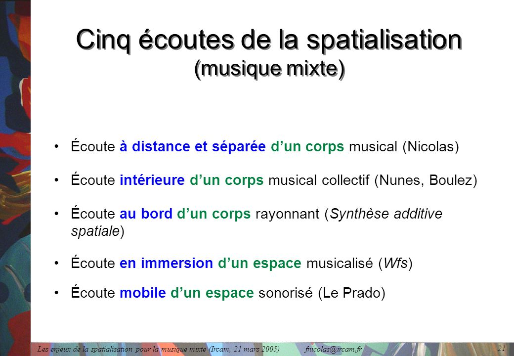 Cinq écoutes de la spatialisation (musique mixte)