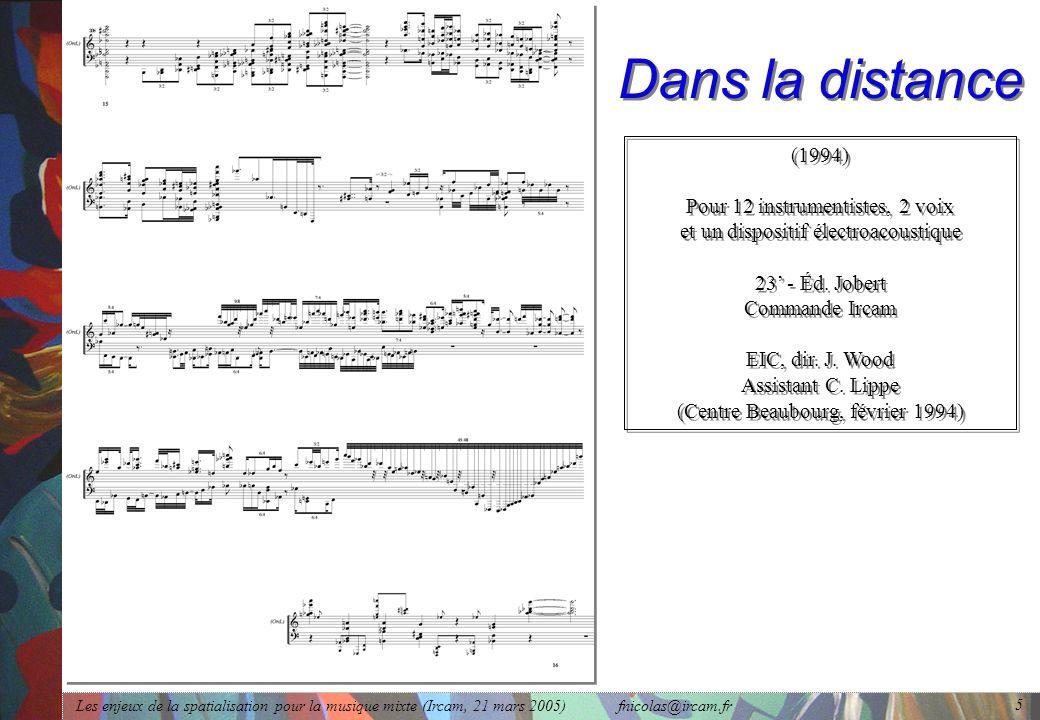 Dans la distance (1994) Pour 12 instrumentistes, 2 voix