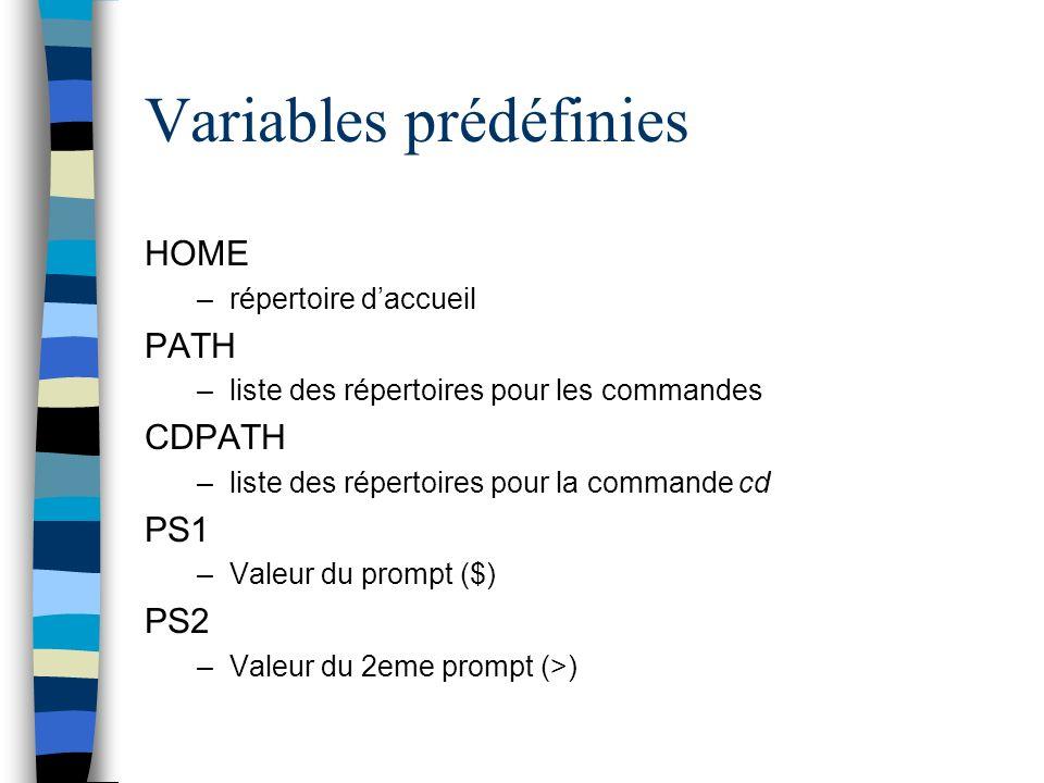 Variables prédéfinies