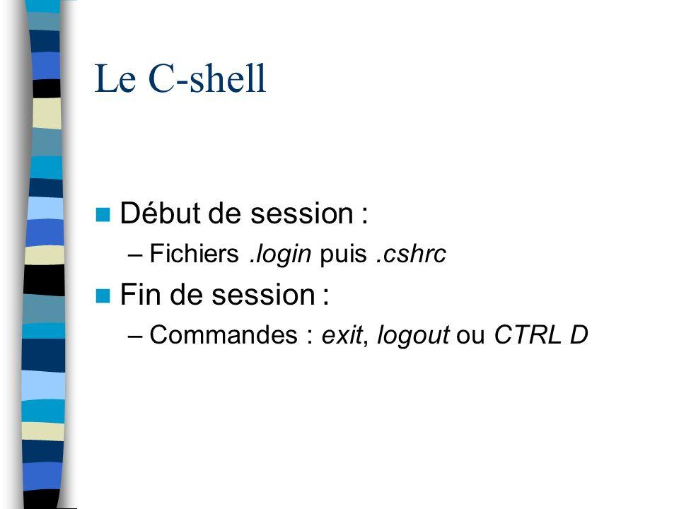 Le C-shell Début de session : Fin de session :