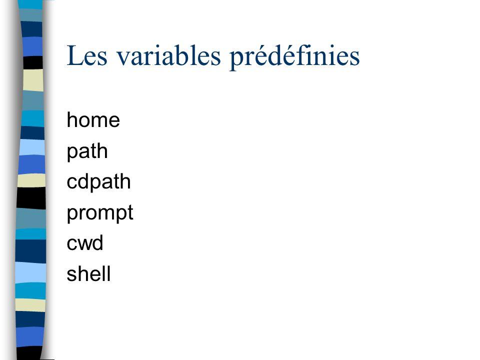 Les variables prédéfinies