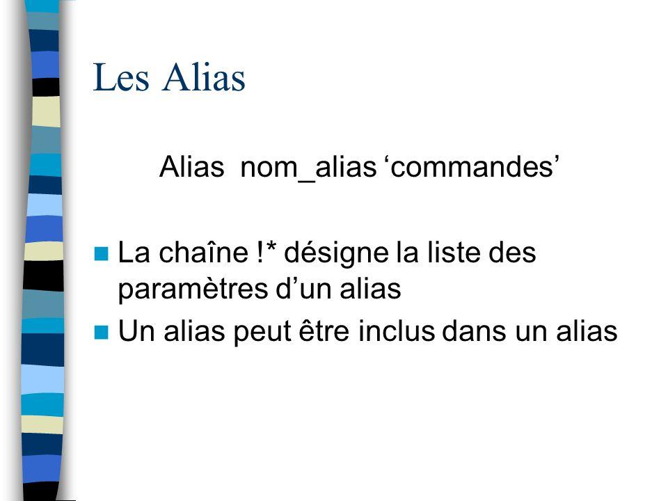 Les Alias Alias nom_alias 'commandes'