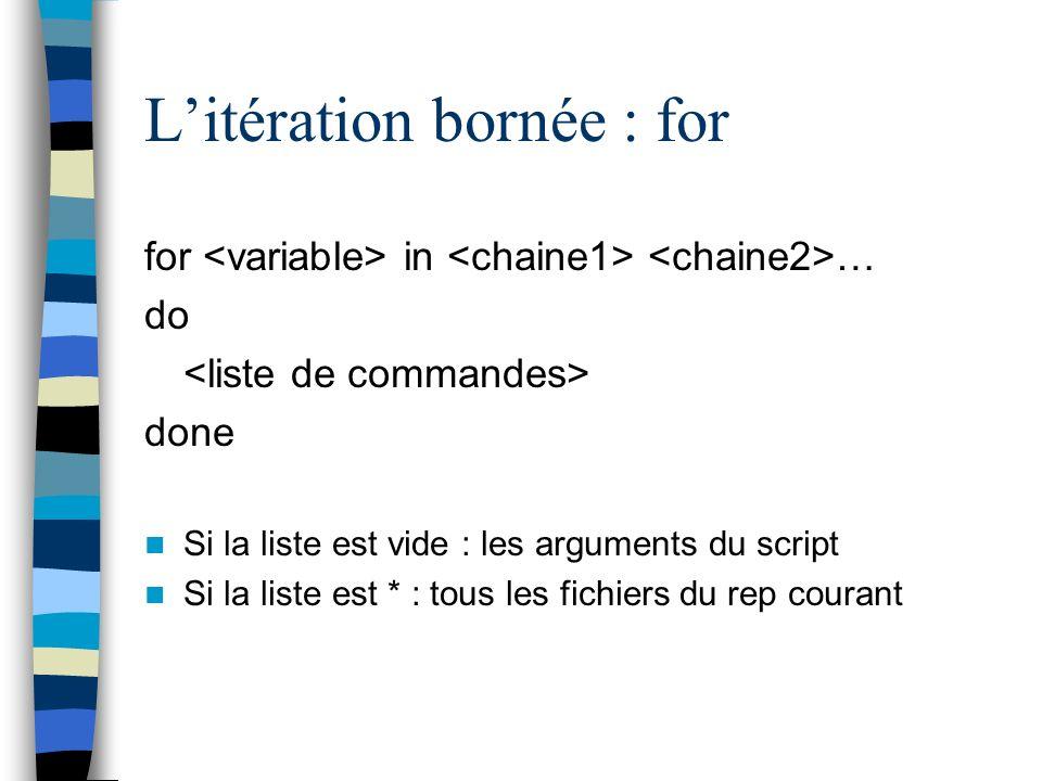 L'itération bornée : for