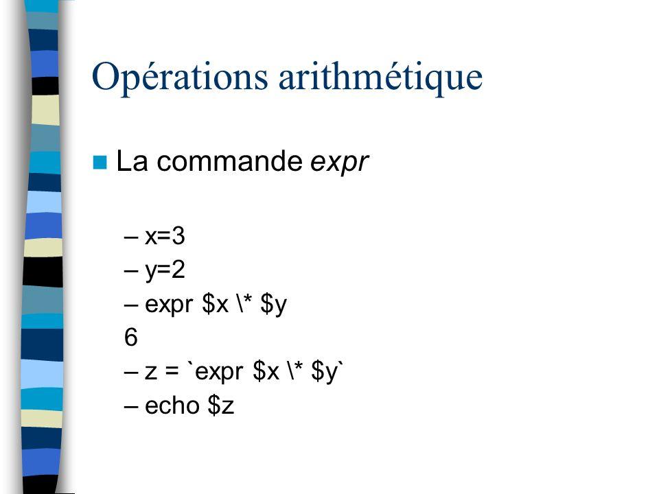 Opérations arithmétique