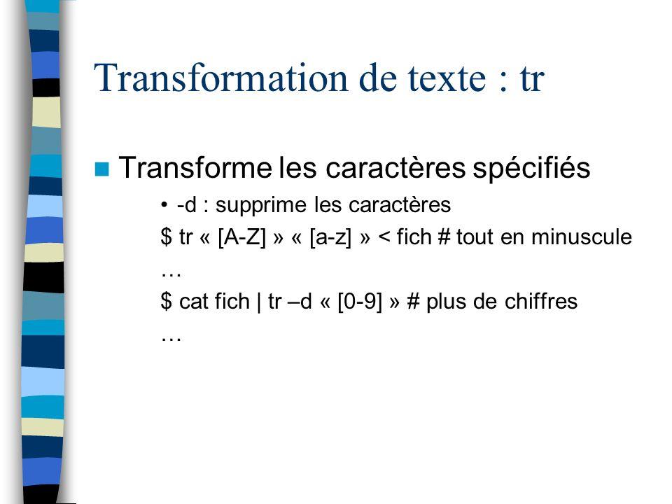 Transformation de texte : tr