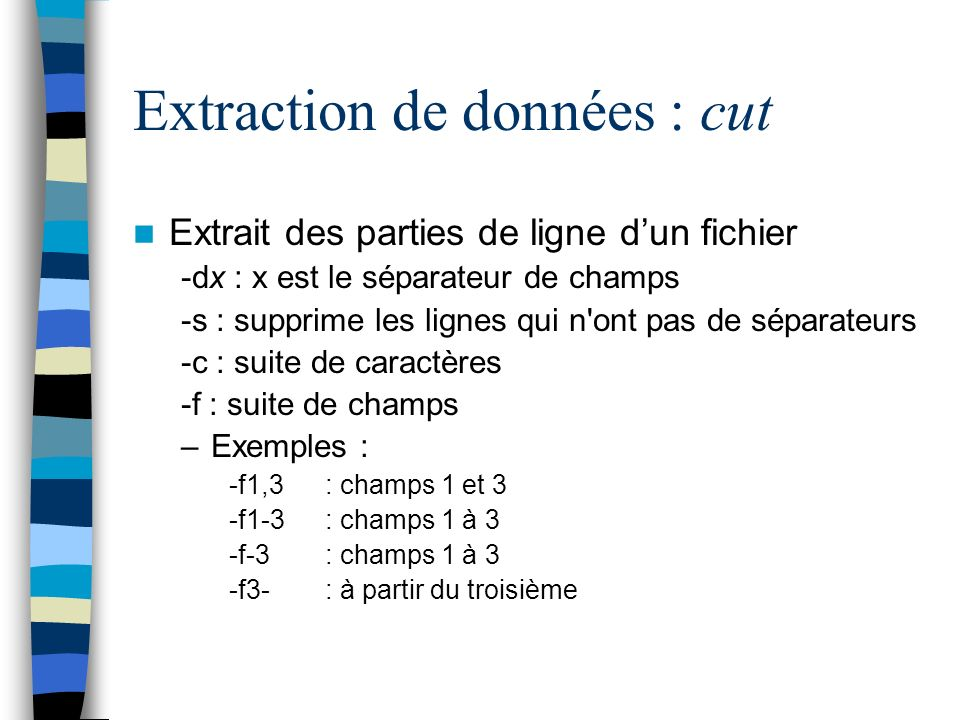 Extraction de données : cut