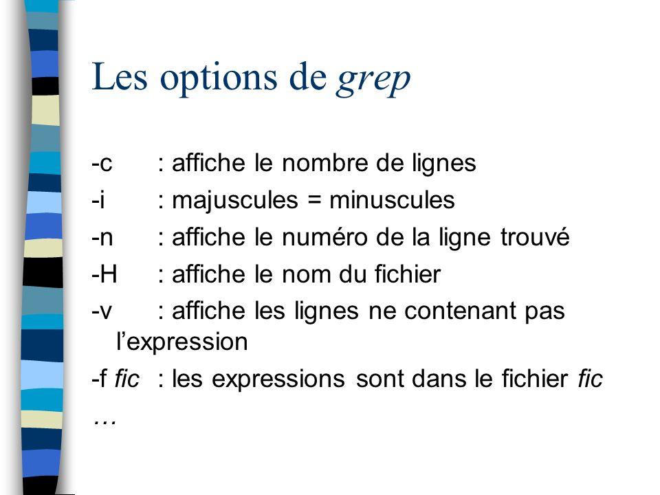 Les options de grep -c : affiche le nombre de lignes