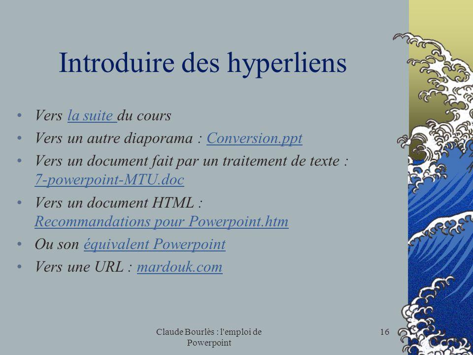 Introduire des hyperliens