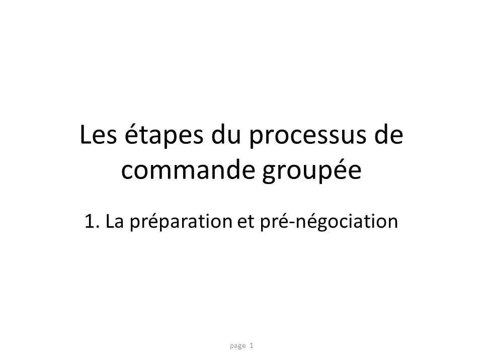 Les étapes du processus de commande groupée
