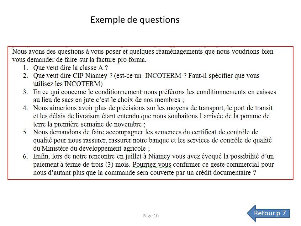 Exemple de questions Retour p 7 Page 10