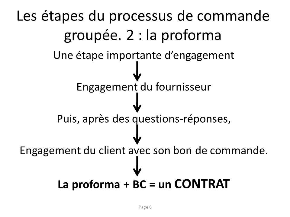 Les étapes du processus de commande groupée. 2 : la proforma