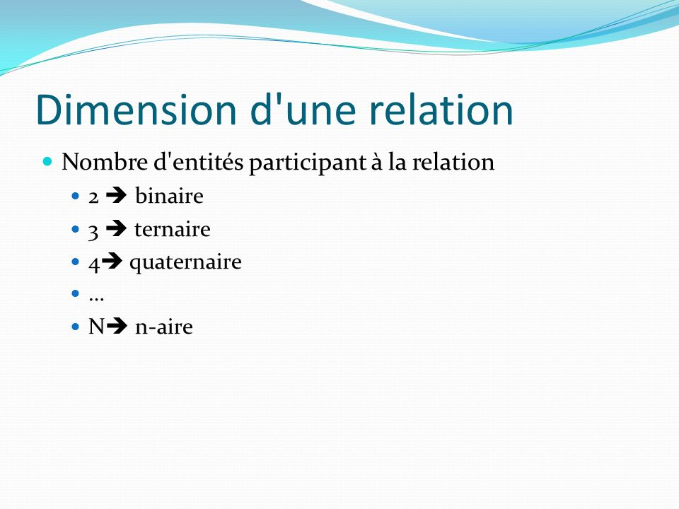 Dimension d une relation