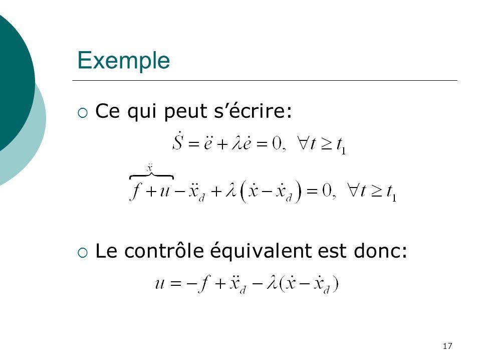 Exemple Ce qui peut s'écrire: Le contrôle équivalent est donc: 17