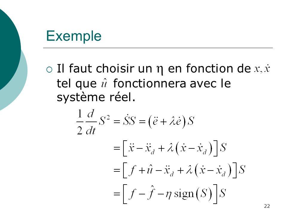 Exemple Il faut choisir un η en fonction de tel que fonctionnera avec le système réel. 22