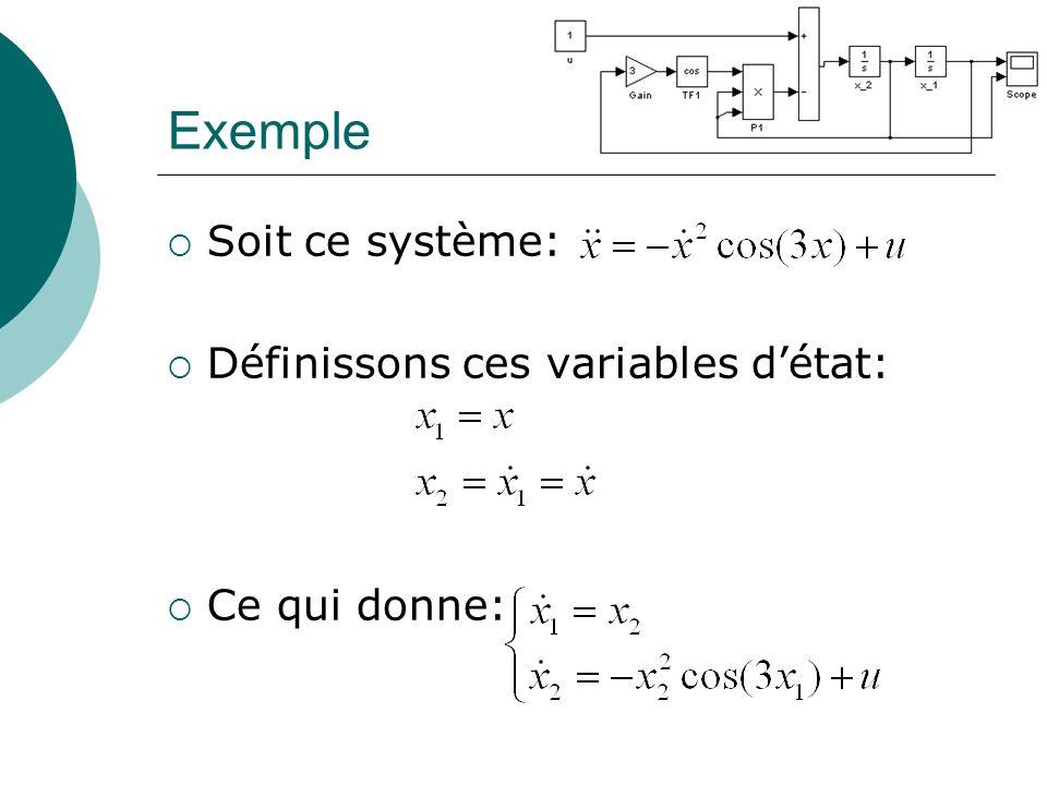 Exemple Soit ce système: Définissons ces variables d'état: